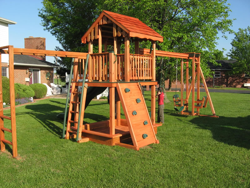 Swing Set With Rockwall